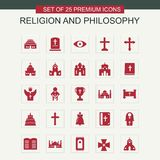 Godsdienst en Philosphy-pictogrammen geplaatst rood stock illustratie