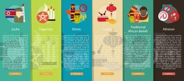 Godsdienst en van de Vieringen Verticaal Banner Concept vector illustratie