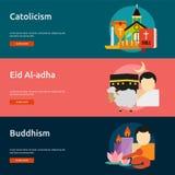 Godsdienst en van de Vieringenbanner Ontwerp royalty-vrije illustratie