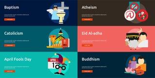 Godsdienst en van de Vieringenbanner Ontwerp stock illustratie