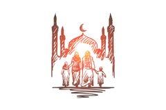 Godsdienst, familie, moslim, Arabisch, islam, moskeeconcept Hand getrokken geïsoleerde vector royalty-vrije illustratie