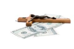 Godsdienst of geld stock foto