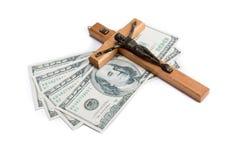 Godsdienst of geld stock foto's