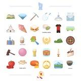 Godsdienst, het koken, sport en ander Webpictogram in beeldverhaalstijl ritueel, het rouwen pictogrammen in vastgestelde inzameli vector illustratie