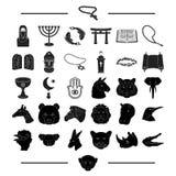 Godsdienst, hobbys, aard en ander Webpictogram in zwarte stijl Azië, India, attributenpictogrammen in vastgestelde inzameling vector illustratie