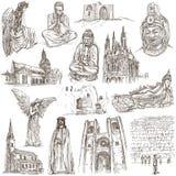 Godsdienst rond de Wereld - een hand getrokken inzameling vector illustratie