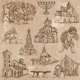 Godsdienst rond de Wereld - vectoren uit de vrije hand, pak stock illustratie