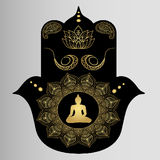Godsdienstboeddhisme - Boedha, meditatie en gebed ansjovis Stock Fotografie