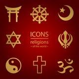 Godsdiensten van de wereld Geplaatste pictogrammen Stock Afbeeldingen