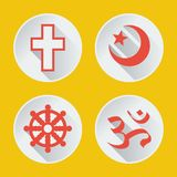 Godsdiensten van vlak deel 1 van wereldpictogrammen Stock Fotografie