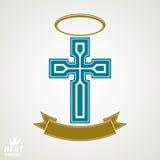Godsdienstig dwarsembleem met nimbus en decoratief lint, geest stock illustratie