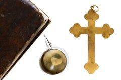 Godsdienstige die voorwerpen op witte achtergrond worden geïsoleerd Stock Foto's