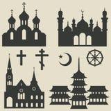 Godsdienstige geplaatste gebouwen en symbool Stock Foto's