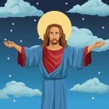 godsdienstige heilige de nachtachtergrond van Jesus-Christus royalty-vrije illustratie