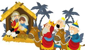 Godsdienstige illustratie drie koningen - en heilige familie - traditie vector illustratie