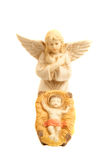 Godsdienstige nativityscène met baby Jesus en Engel Stock Foto