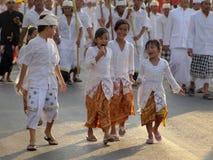 Godsdienstige optocht in Bali Royalty-vrije Stock Foto