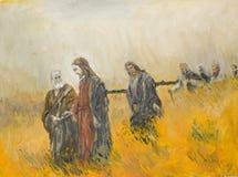 Godsdienstige scène, Christus en zijn discipelen Royalty-vrije Stock Foto