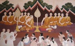 Godsdienstige schilderijen op tempelmuren in Bangkok stock foto