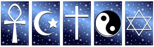 Godsdienstige symbolen op een achtergrond met sterren Stock Foto's