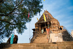 Godsdienstige vakantie in tempel van Khajuraho, India Stock Fotografie
