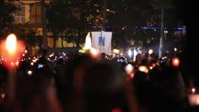 Godsdienstige vieringen van 13 Mei, 2015 in het Heiligdom van Fatima - Portugal stock footage