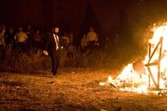 Godsdienstige vieringen van Vertraging ba-Omer, Israël stock foto's