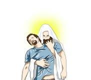 Godsdienstillustratie met Jesus Christ royalty-vrije illustratie