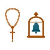 Godsdienstklok het hangen in de overwelfde galerijvector Royalty-vrije Stock Foto