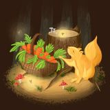 Godsend in a dark forest vector illustration