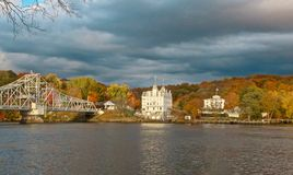 Goodspeed Opera House. Clouds at sunset in autumn at Goodspeed Opera House in East Haddam Connecticut Stock Photography