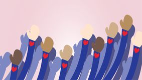 Godtagandeillustration Anti-rasismvektor Folket räcker tecknade filmen vektor illustrationer