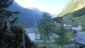 Godvangen w Norwegia, fotografia denny kajak, kościół w małej nieruchomości Bakka obraz royalty free