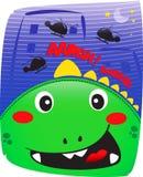 Godzilla милое в городке ночи Стоковые Изображения