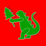 Godzilla. Applique cute Godzilla-Dragon symbol 2012 year vector illustration