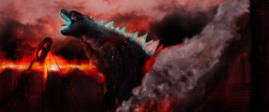 Godzilla brûlant une ville photographie stock libre de droits