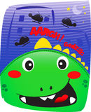 Godzilla cute in night town.  Stock Images