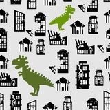 Godzilla destroys city seamless pattern. Great Monster breaks d stock illustration