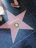 Godzilla Hollywood walk of fame star. Hollywood, California - July 26 2017: Godzilla Hollywood walk of fame star on July 26, 2017 in Hollywood, CA. Giant stock photo