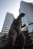 Godzilla statue in tokyo stock photo