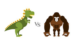 Godzilla vs King Kong. Battle monsters. Big wild monkey and scar. Y dinosaur. Contest of destroyers Stock Photo