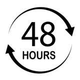48 godzin na białych ba48 godzinach na białym tle Mieszkanie styl 48 godzin znaków Obraz Stock