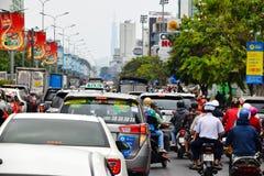 Godzina szczytu ruch drogowy w Ho Chi Minh mieście zdjęcia royalty free