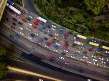 Godzina szczytu ruchu drogowego dżemu anteny strzał obraz stock