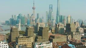 Godzina Szczytu w Szanghaj Huangpu i Lujiazui okręg przy Jasnego dnia Chiny widokiem z lotu ptaka zbiory