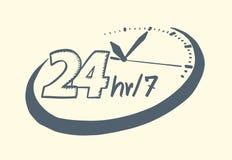 24 godziny 7 dnia zegaru rysującego stylu Obrazy Stock