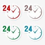 24 godziny kółkowych ikon ustawiać Fotografia Royalty Free