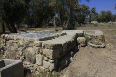 Goed bij Oude Stad van Bijbelse Ashkelon in Israël Royalty-vrije Stock Afbeeldingen
