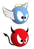 Goed en kwaad emoticons royalty-vrije illustratie