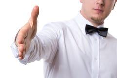 Goed-geklede mens die een handdruk geven Royalty-vrije Stock Foto